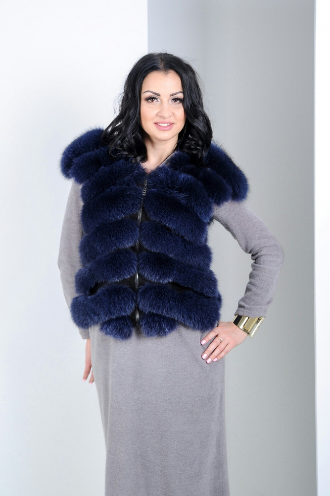 "Fur vest from silver fox ""Shanel"""
